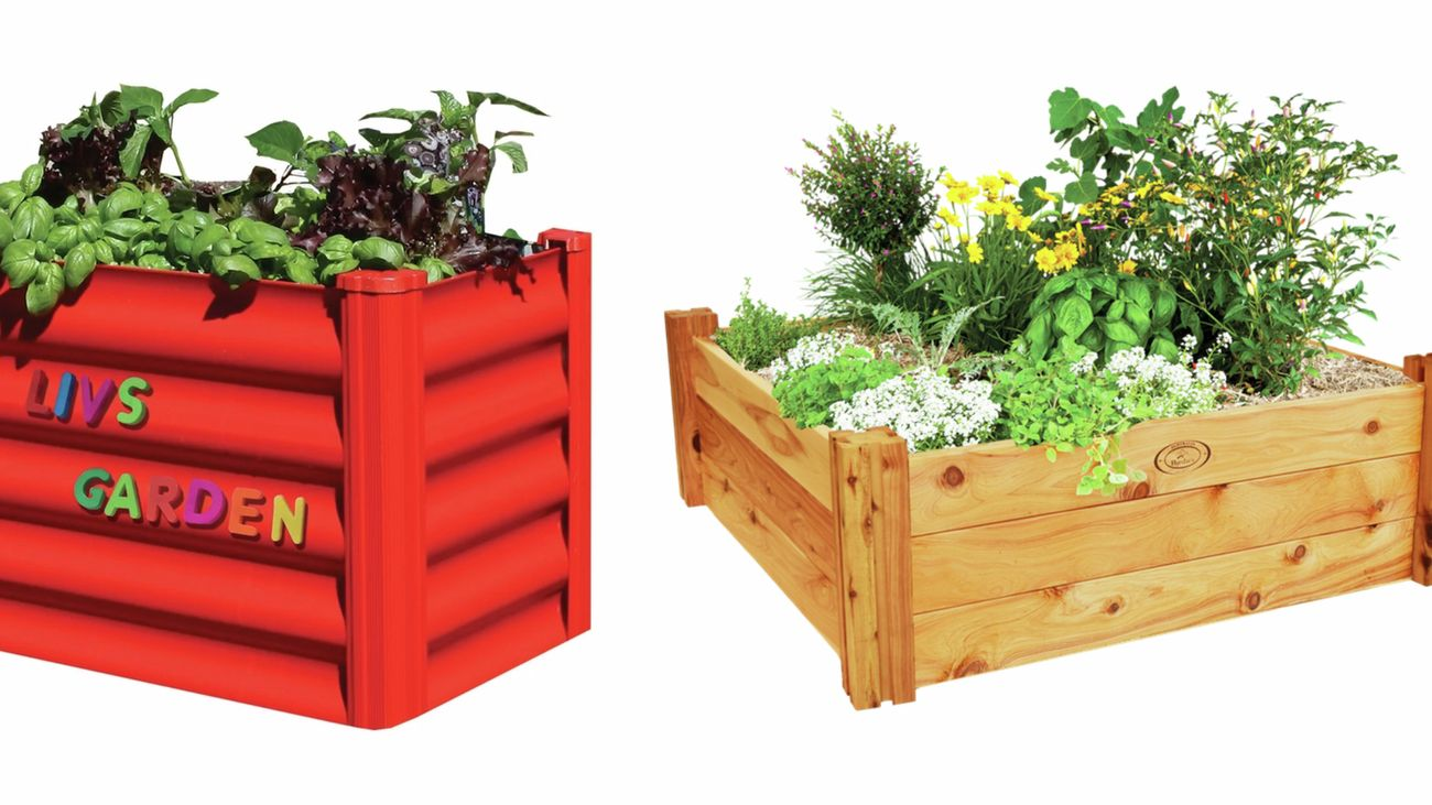 One red raised garden bed and a wooden raised garden bed with more herbs