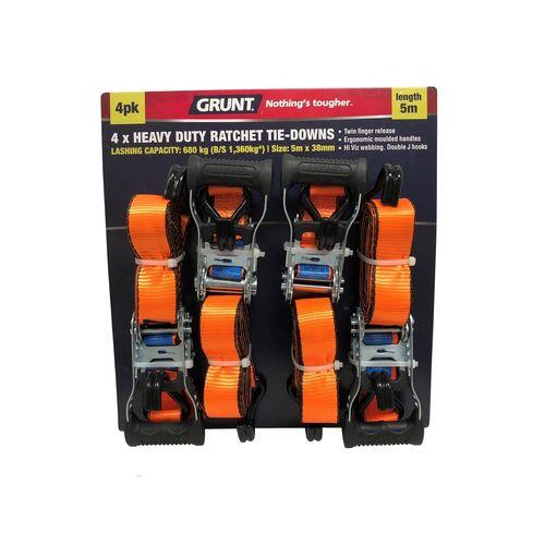 Grunt 38mm x 5m Ratchet Tie Down Set - 4 Pack