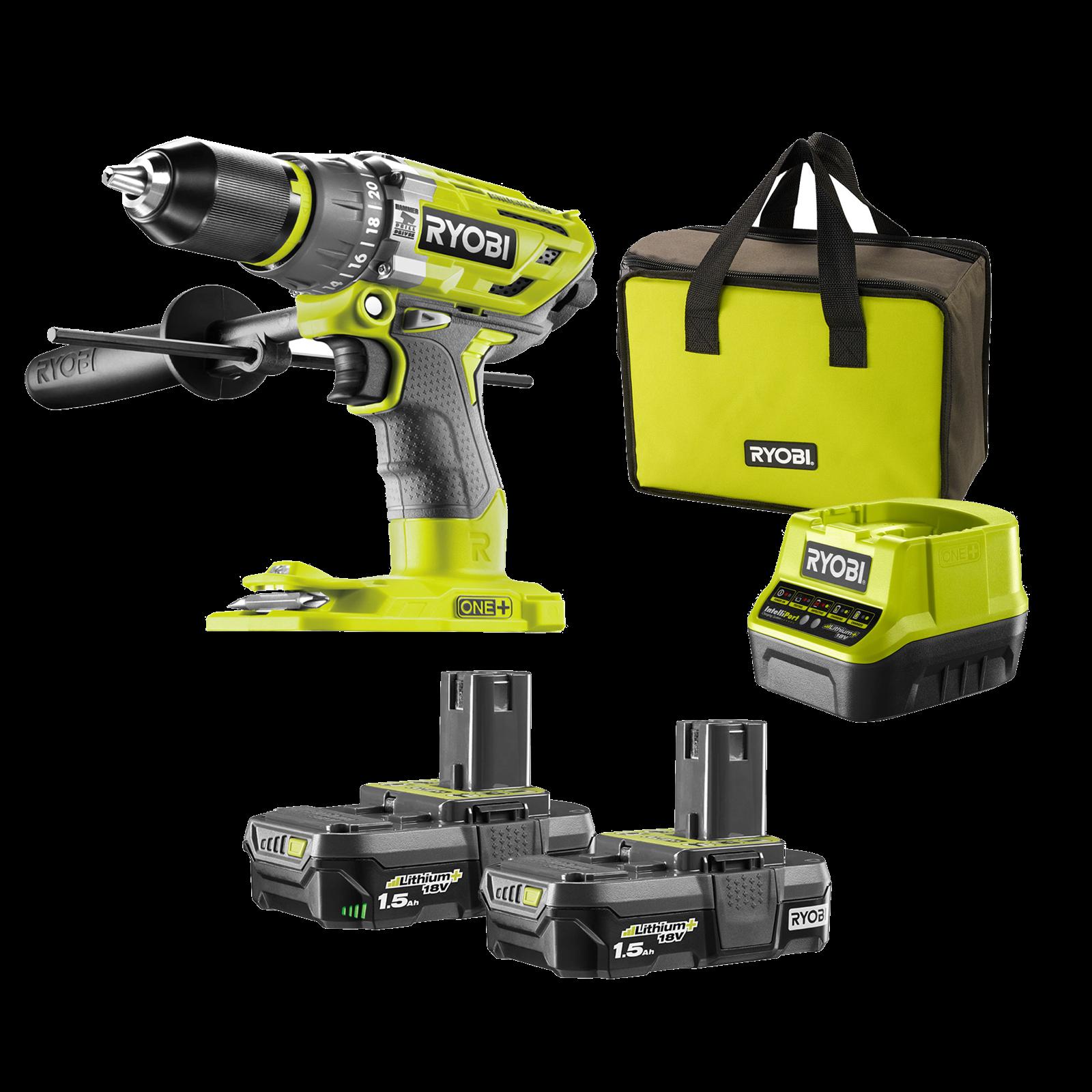 Ryobi One+ 18V Brushless Hammer Drill Kit