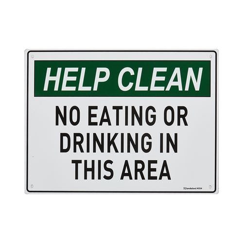 Sandleford 300 x 225mm No Eating Or Drinking Plastic Sign