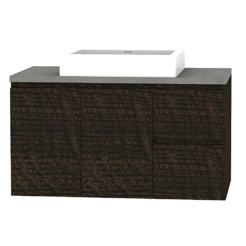 Forme 900mm Mont Albert Wall Hung Vanity With Concrete Stone Top And Comet Basin - RH Drawers - Dark Chocolate