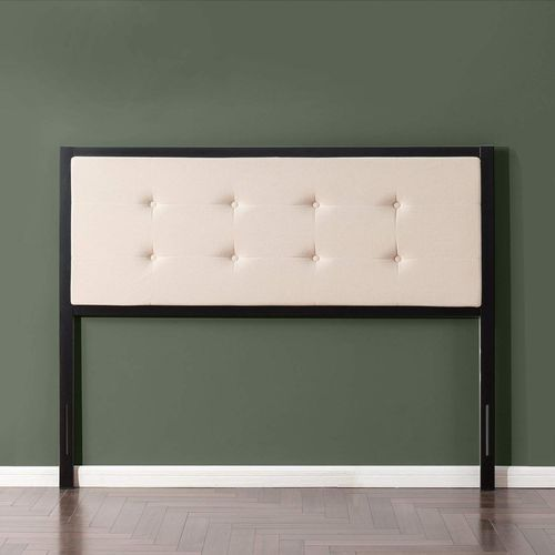 Zinus Barbara Taupe Button Tufted Upholstered Metal Headboard