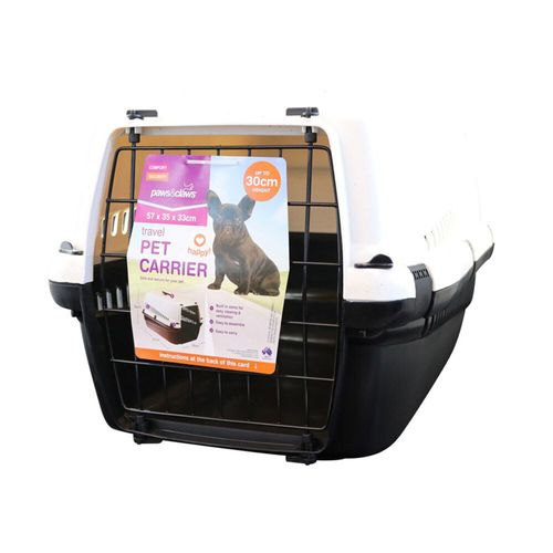 Paws & Claws Large 57x35cm Dog/Pet Carrier/Hard-Sided Travel Crate Black/White