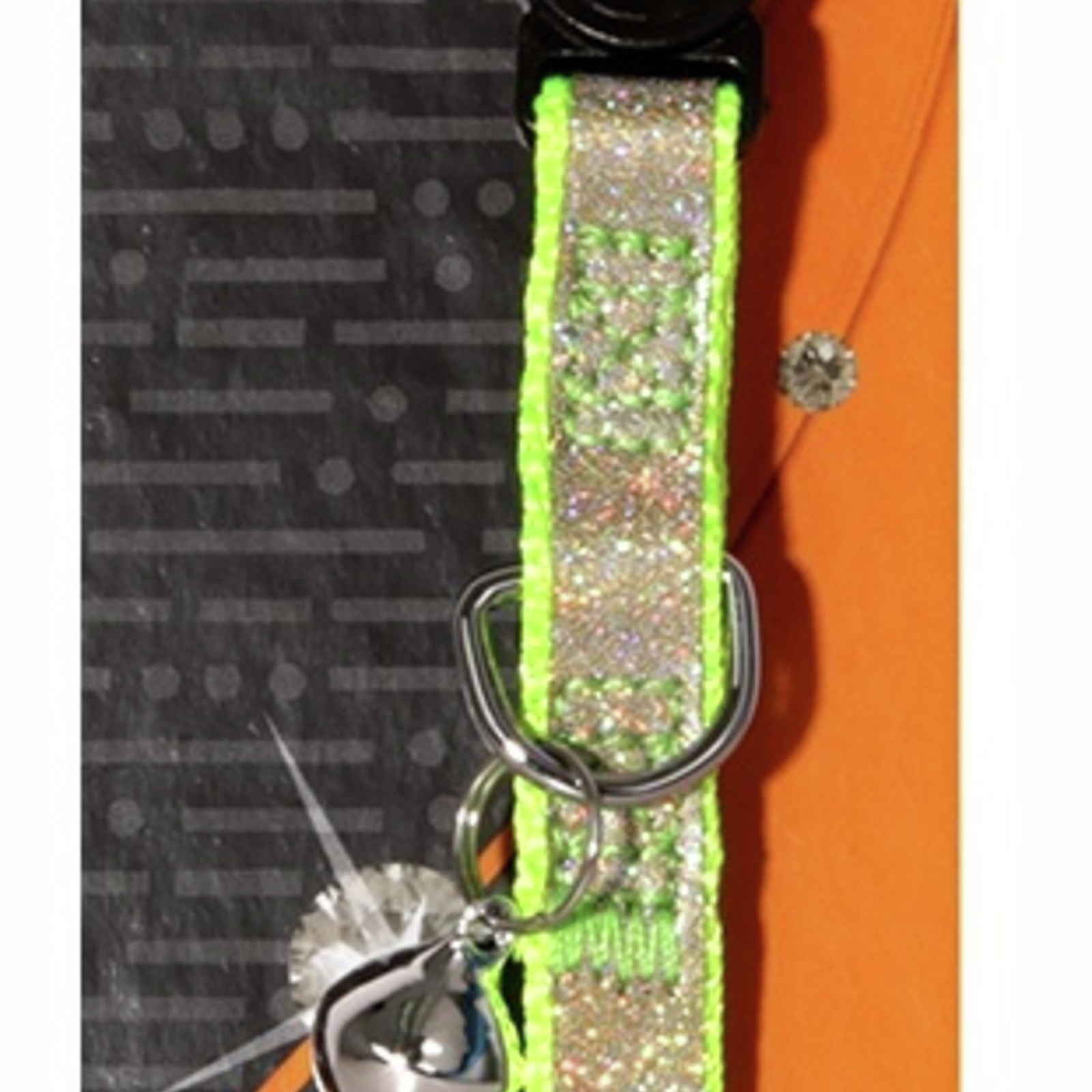 Cat Collar Green & Gold Bling Sparkle with Breakaway Clip - 30cm x 10mm (Pet One)