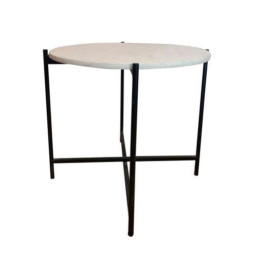 Home Bazar 53 x 50cm Terrazzo Round Steel Side Table