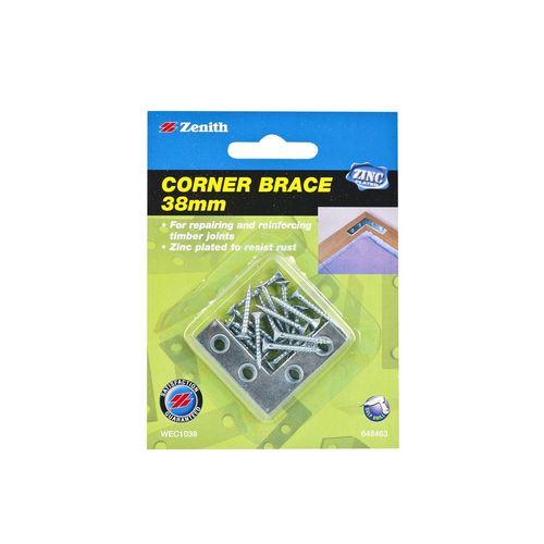 Zenith Corner Brace Bracket 38mm ZP 4pk