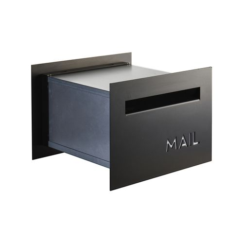 Sandleford Jet Matt Black Front And Back Letterbox With Telescopic Sleeve