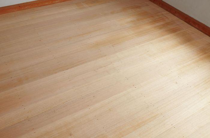 A hardwood floor after being sanded