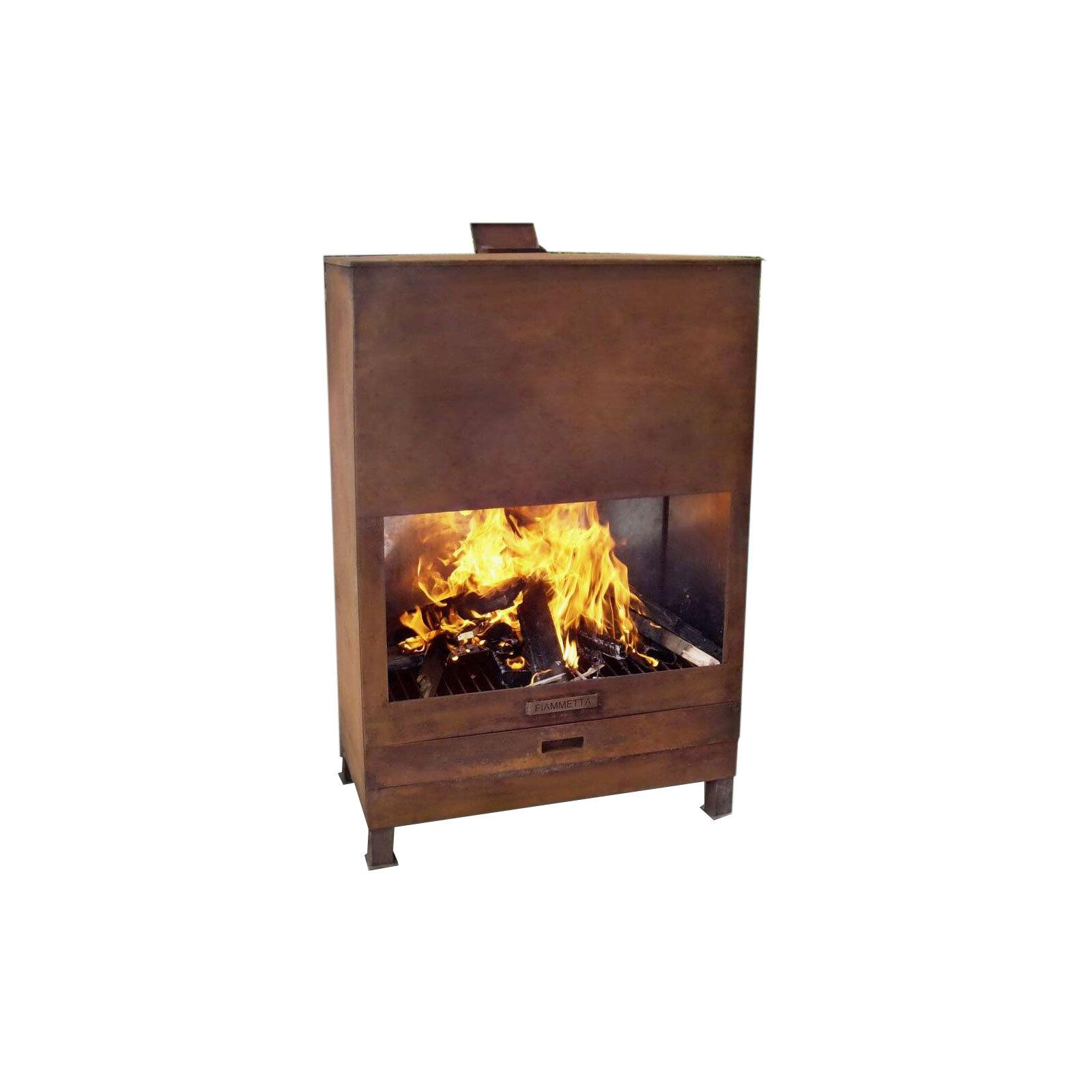 Fiammetta 90 x 49 x 133cm Rustic Fireplace