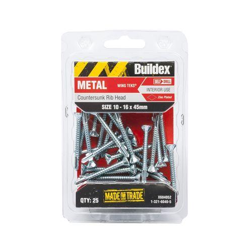 Buildex 10-16 x 45mm Metal Wingtek Screws - 25 Pack
