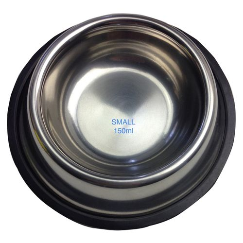 STAINLESS STEEL DOG BOWL Pet Cat Water Food Feeder Portable Dish - Small