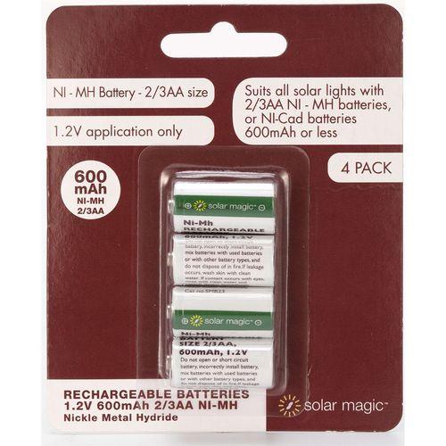 Solar Magic AA 600mAh 2/3 Ni-Mh Rechargeable Batteries - 4 Pack