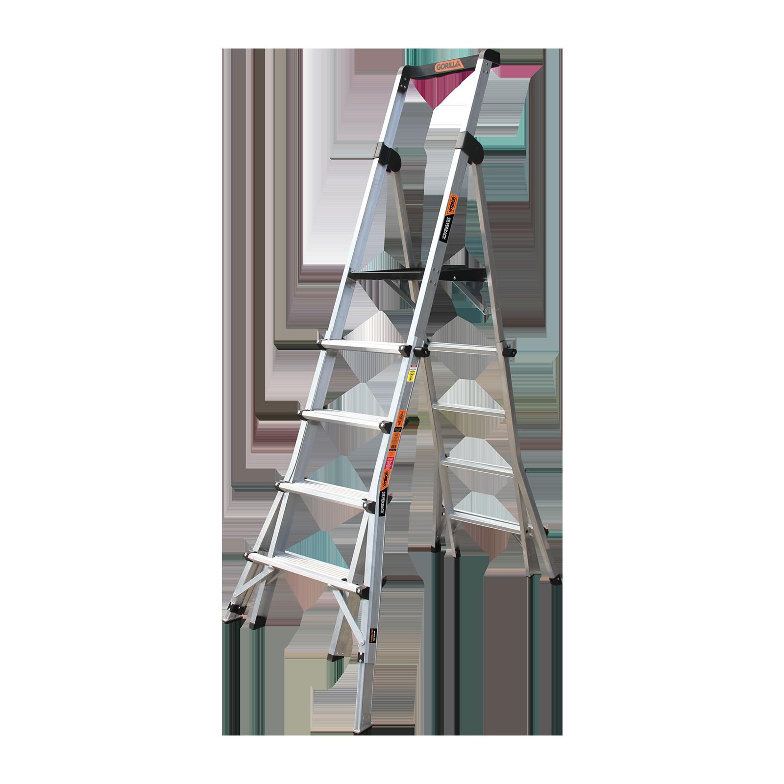 Gorilla 150kg Silverback 5-8 Step Adjustable Platform Ladder With Leveller Legs