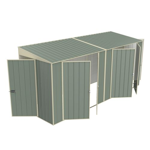 Build-a-Shed 1.5 x 4.5 x 2.0m Tunnel Shed Tunnel Hinged Door Plus Dual Double Hinged Side Door - Green