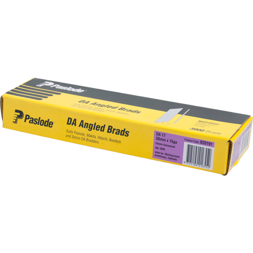 Paslode 38mm Electro Galvanised DA Angle Brad Nails - 3000 Pack