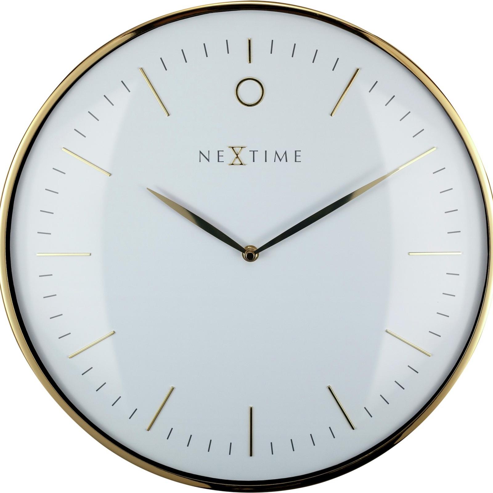 NeXtime 40cm Gold & White Glamour Wall Clock