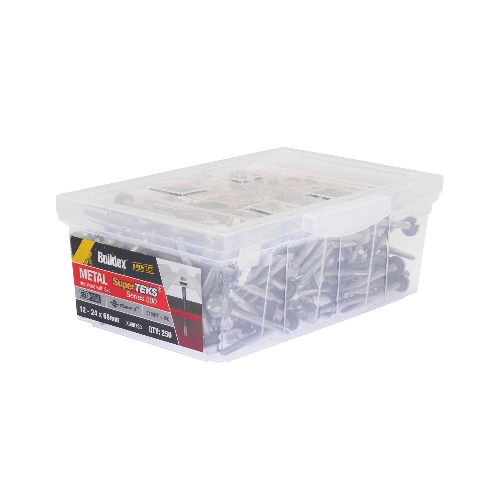 Buildex 12 - 24 x 68mm SuperTEKS Series 500 Hex Head Metal Screw - 250 Box