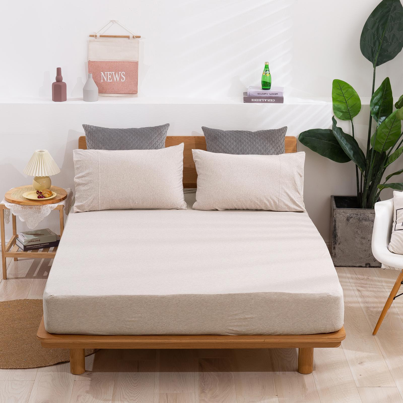 Dreamaker Cotton Jersey Fitted Sheet Latte