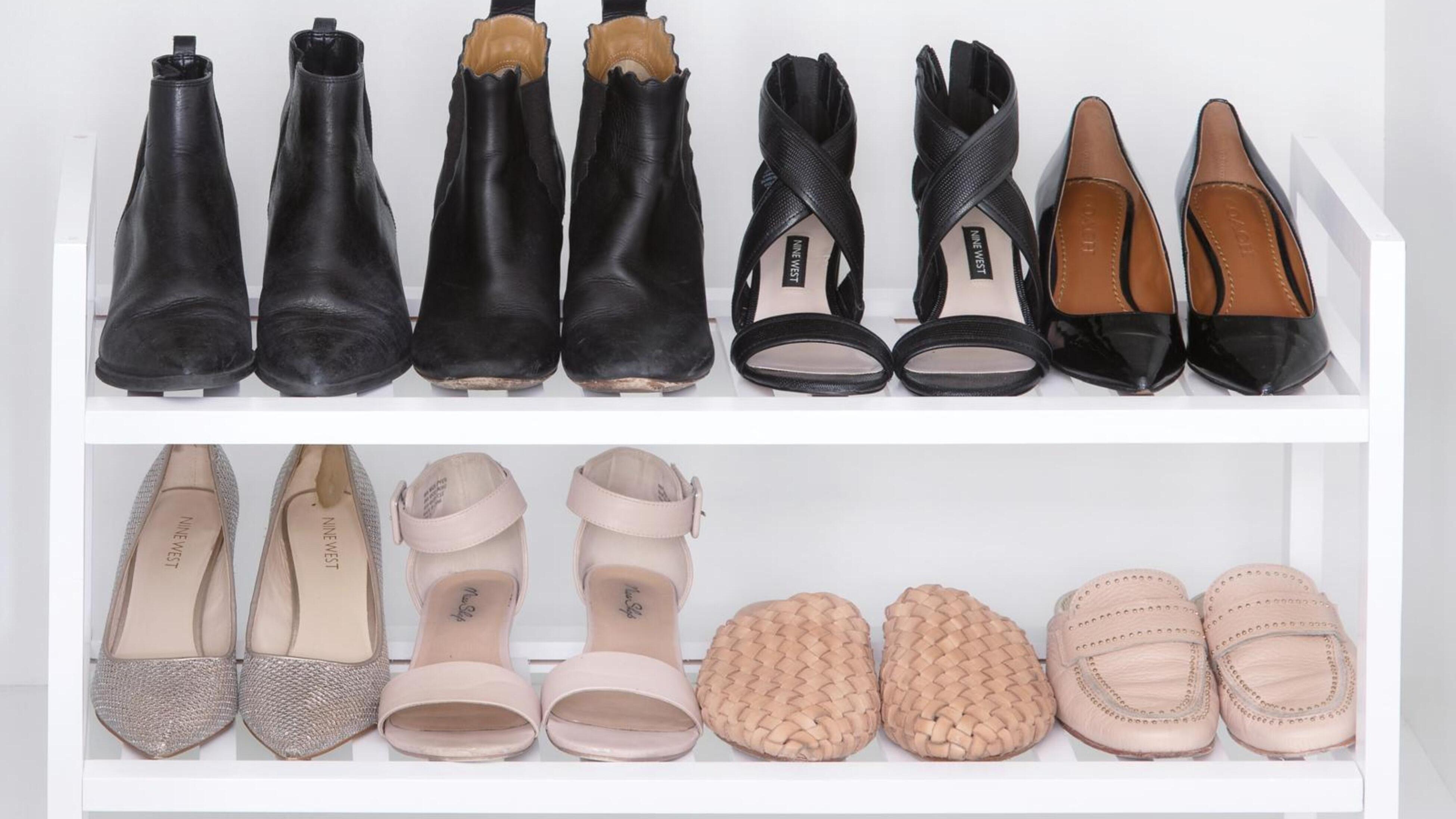 Shoes on shoe rack.