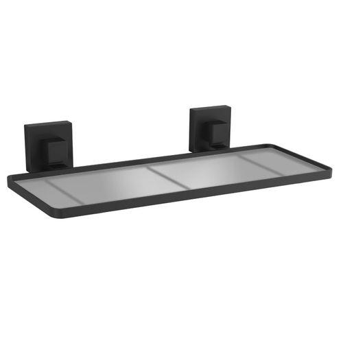 Fusion-Loc 26kg Matte Black Suction Frosted Acrylic Bathroom Shelf