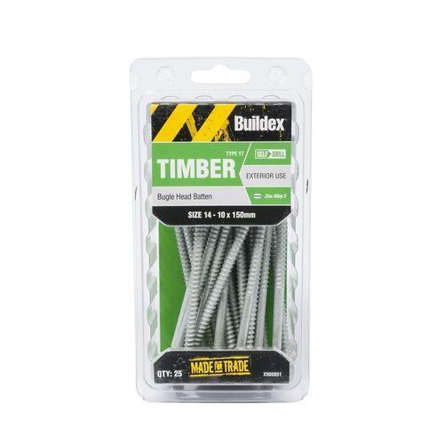 Buildex 14-10 x 150mm Zinc Alloy Bugle Head Batten Timber Screws - 25 Pack
