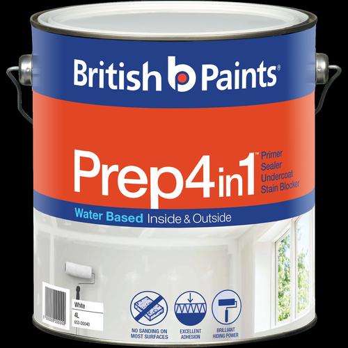 British Paints 4L White 4 In 1 Prep Water Based Primer Sealer Undercoat