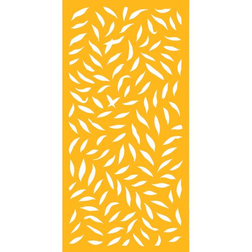 1200 x 2400mm ACP Large Leaf Decorative Panel Unframed - Dark Yellow