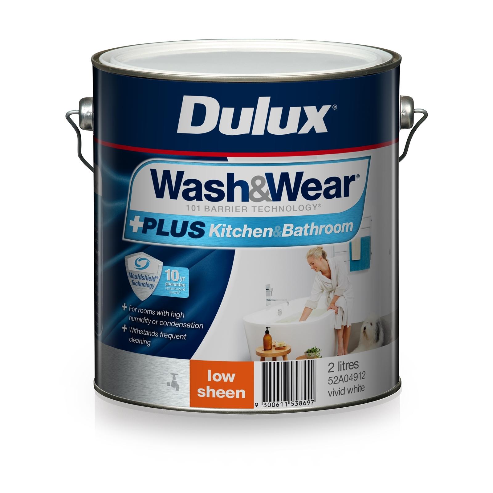 Dulux 2L Interior Paint Wash&Wear +PLUS Kitchen & Bathroom Low Sheen Vivid White
