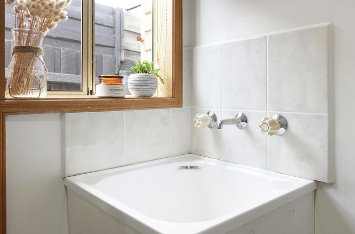 Bathroom with fresh white grout.