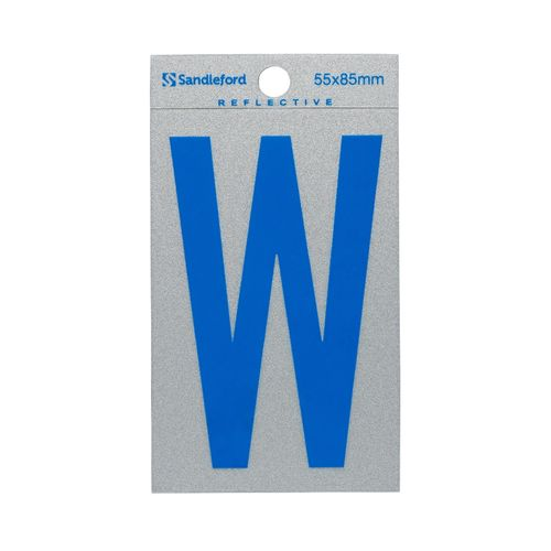 Sandleford 85 x 55mm 'W' Self Adhesive Blue Reflective Letter