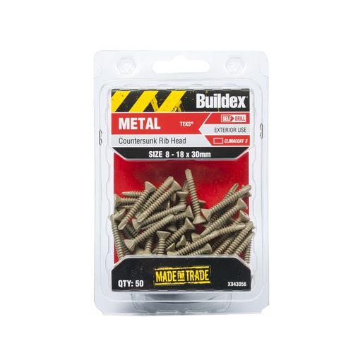 Buildex 8-18 x 30mm Climacoat Countersunk Ribbed Head Metal Tek Screws - 50 Pack