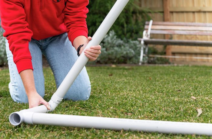 connecting pvc pipe together on lawn