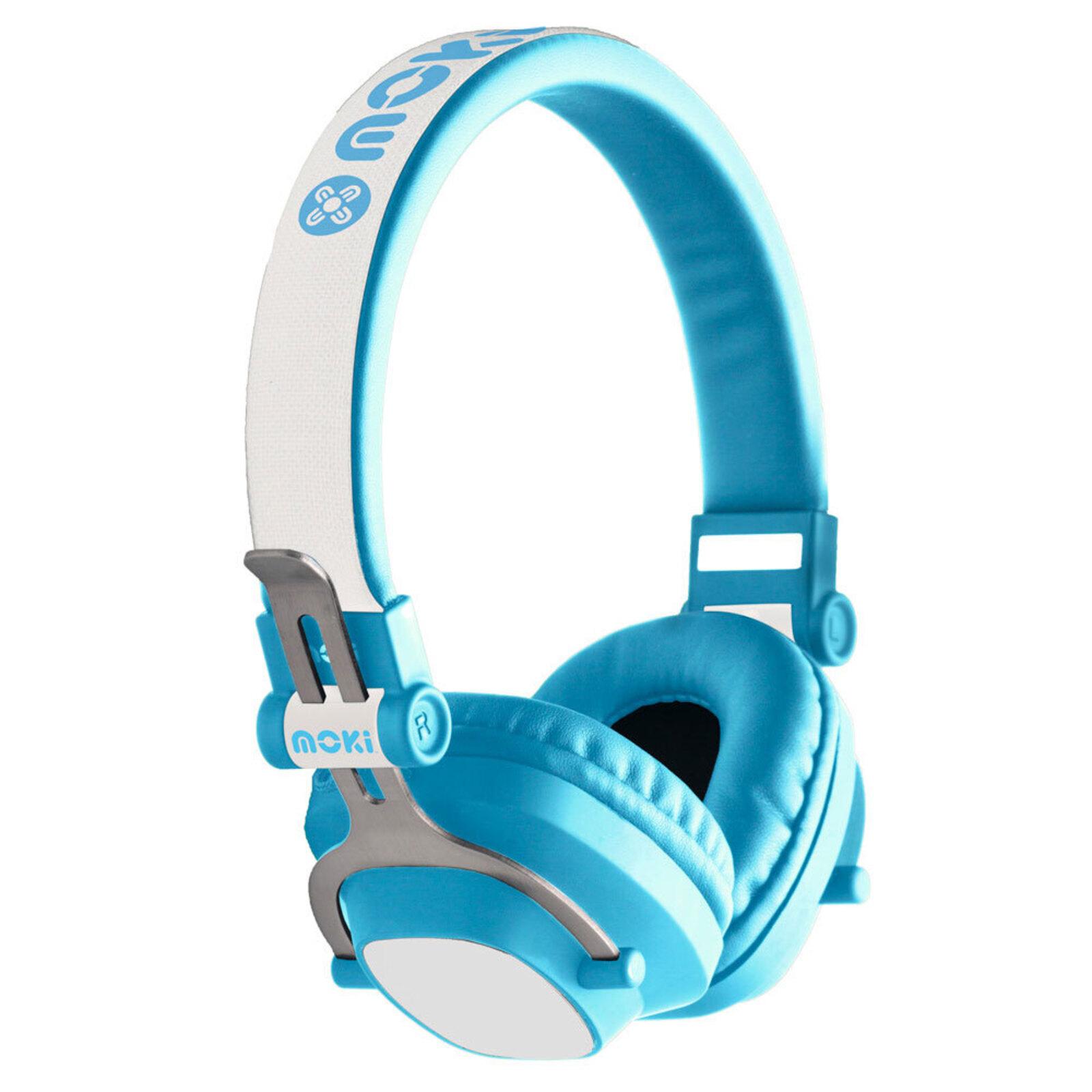 Moki Exo Kids Wireless Bluetooth Headphones On/Over Ear Cup Headband w/ Mic Blue