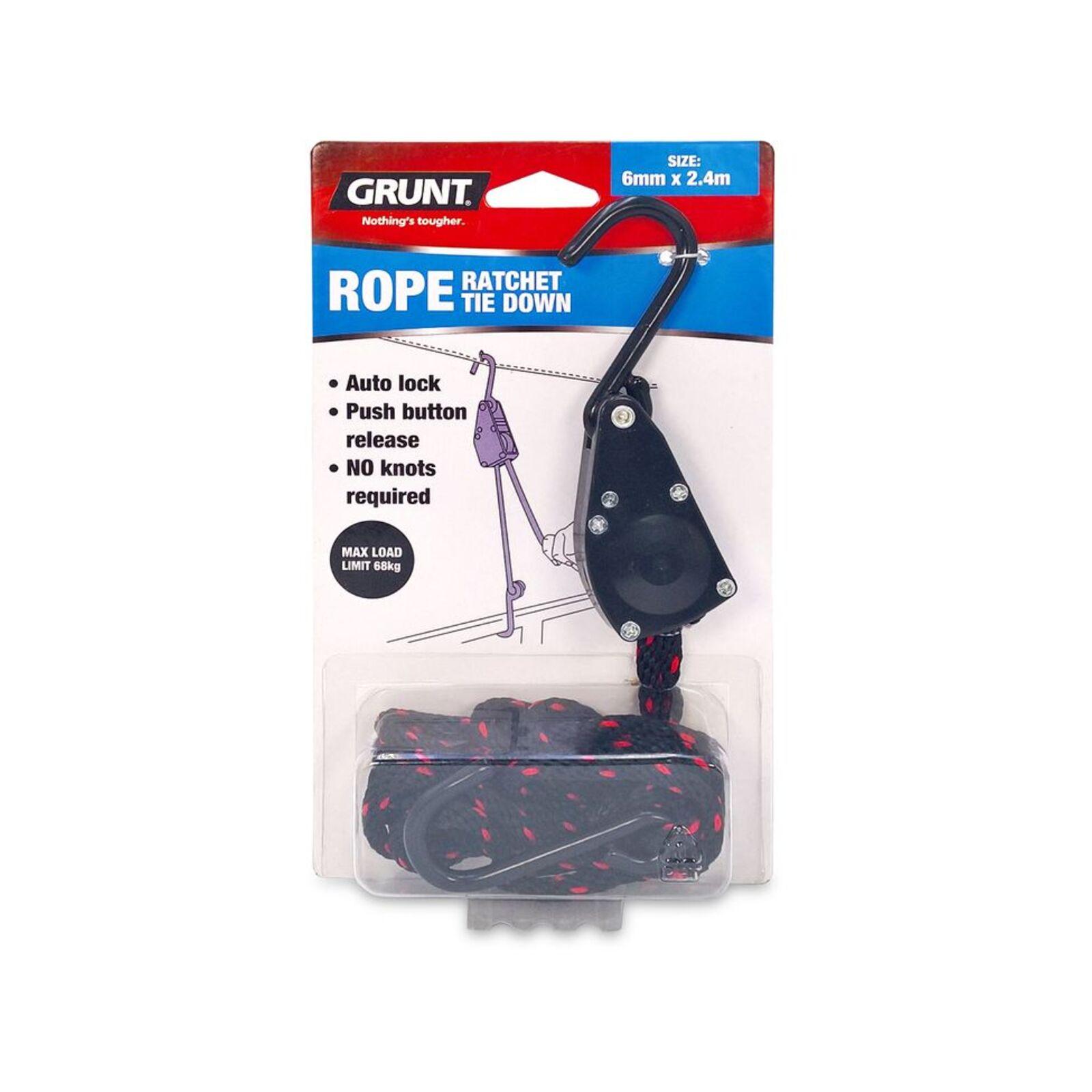 GRUNT 6mm x 2.4m Rope Ratchet Tie Down