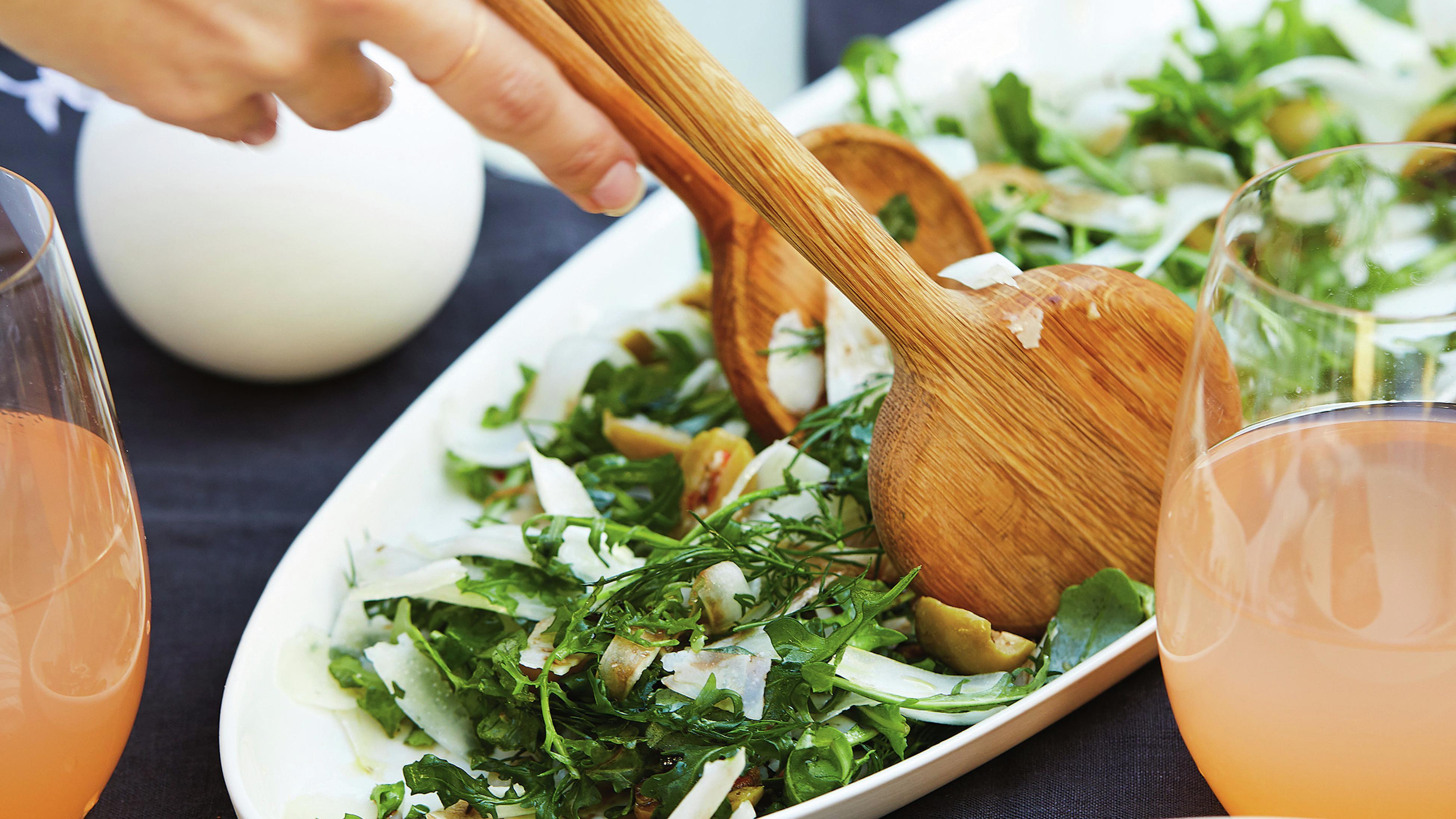 Rocket, fennel, olive and parmesan salad.