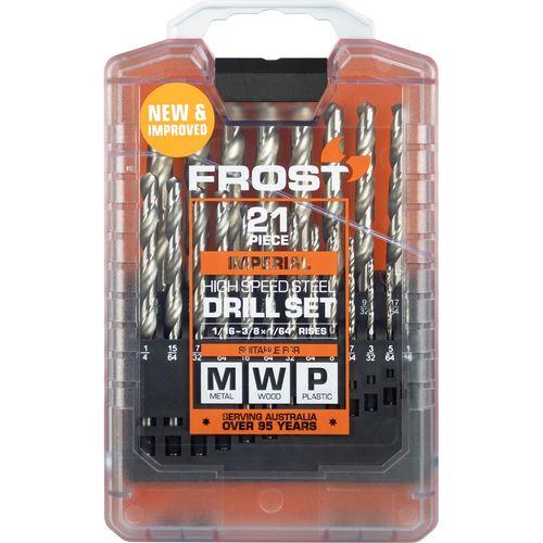 Frost 21 Piece HSS Imperial Jobber Drill Set
