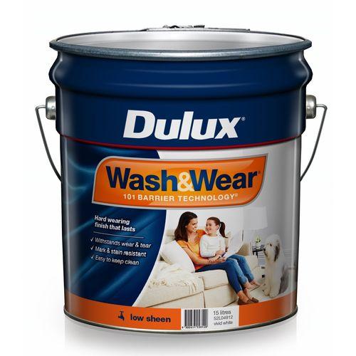 Dulux 15L Interior Paint Wash&Wear Low Sheen Vivid White