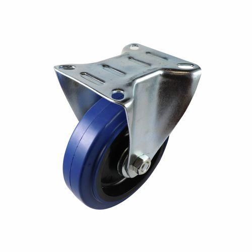 Easyroll 125mm 150kg Blue Fixed Rubber Castor