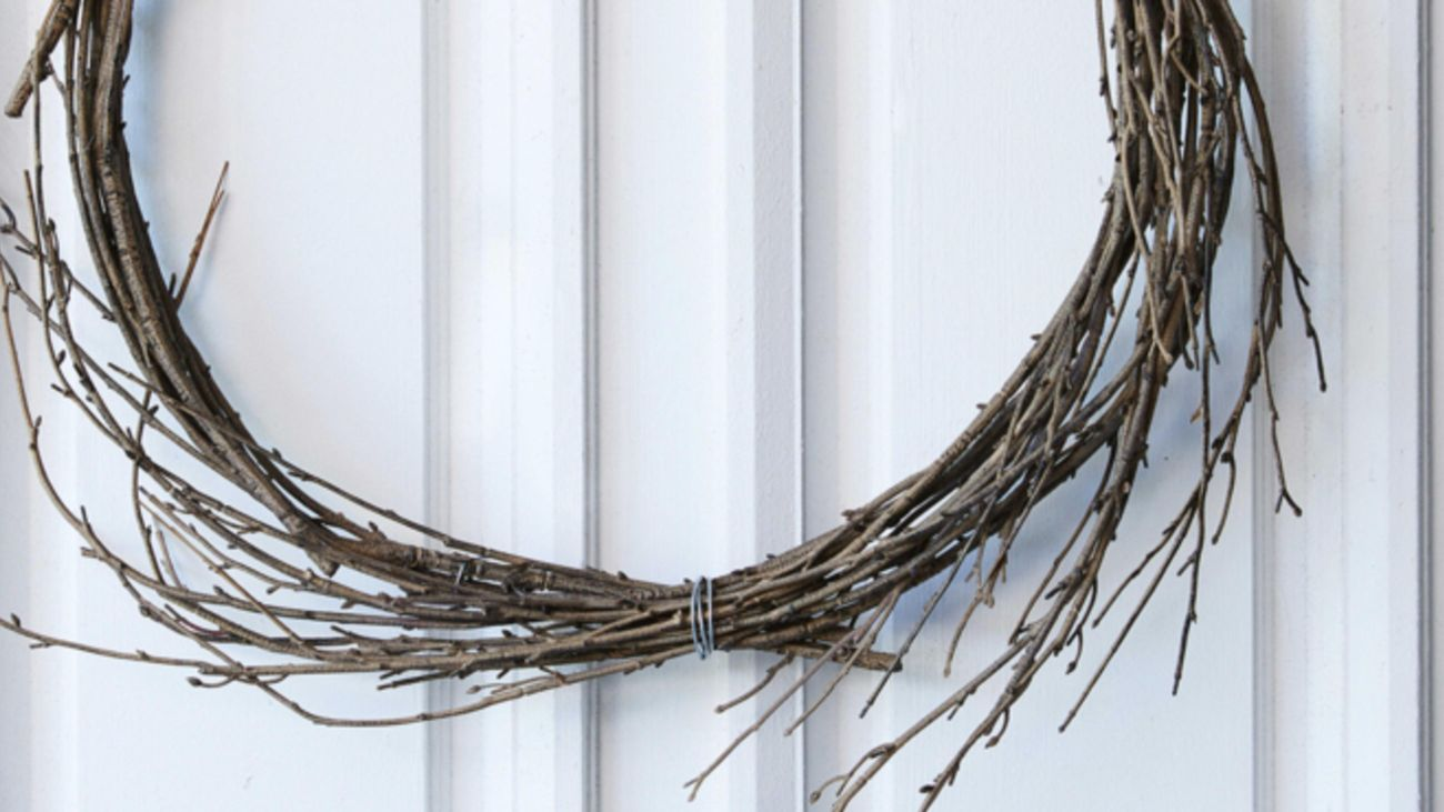 Christmas wreath made from branches.
