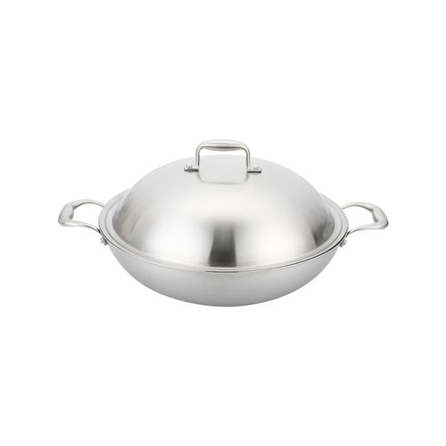 SOGA 3-Ply 38cm Stainless Steel Double Handle Wok Frying Fry Pan Skillet with Lid