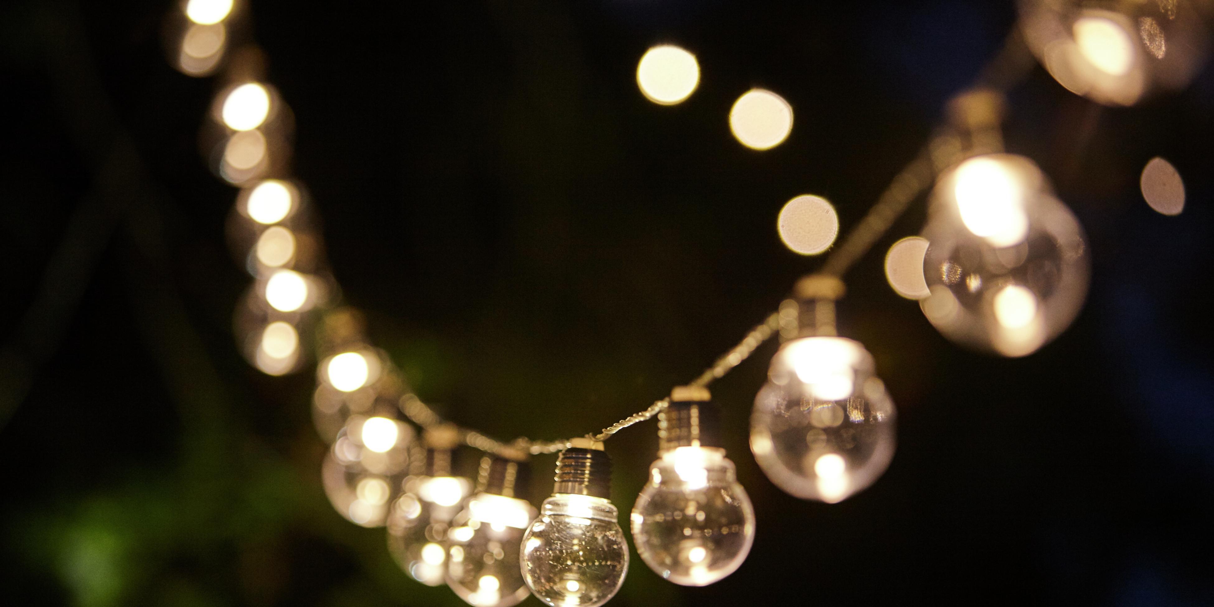 Festoon lights in a backyard