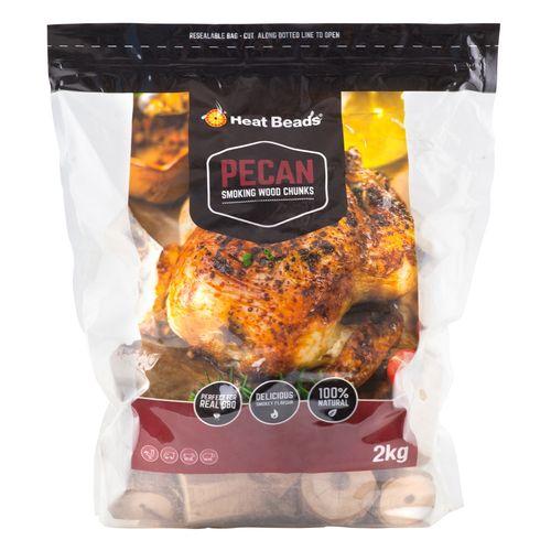 Heat Beads 2kg BBQ Smoking Wood Chunks - Pecan 2kg