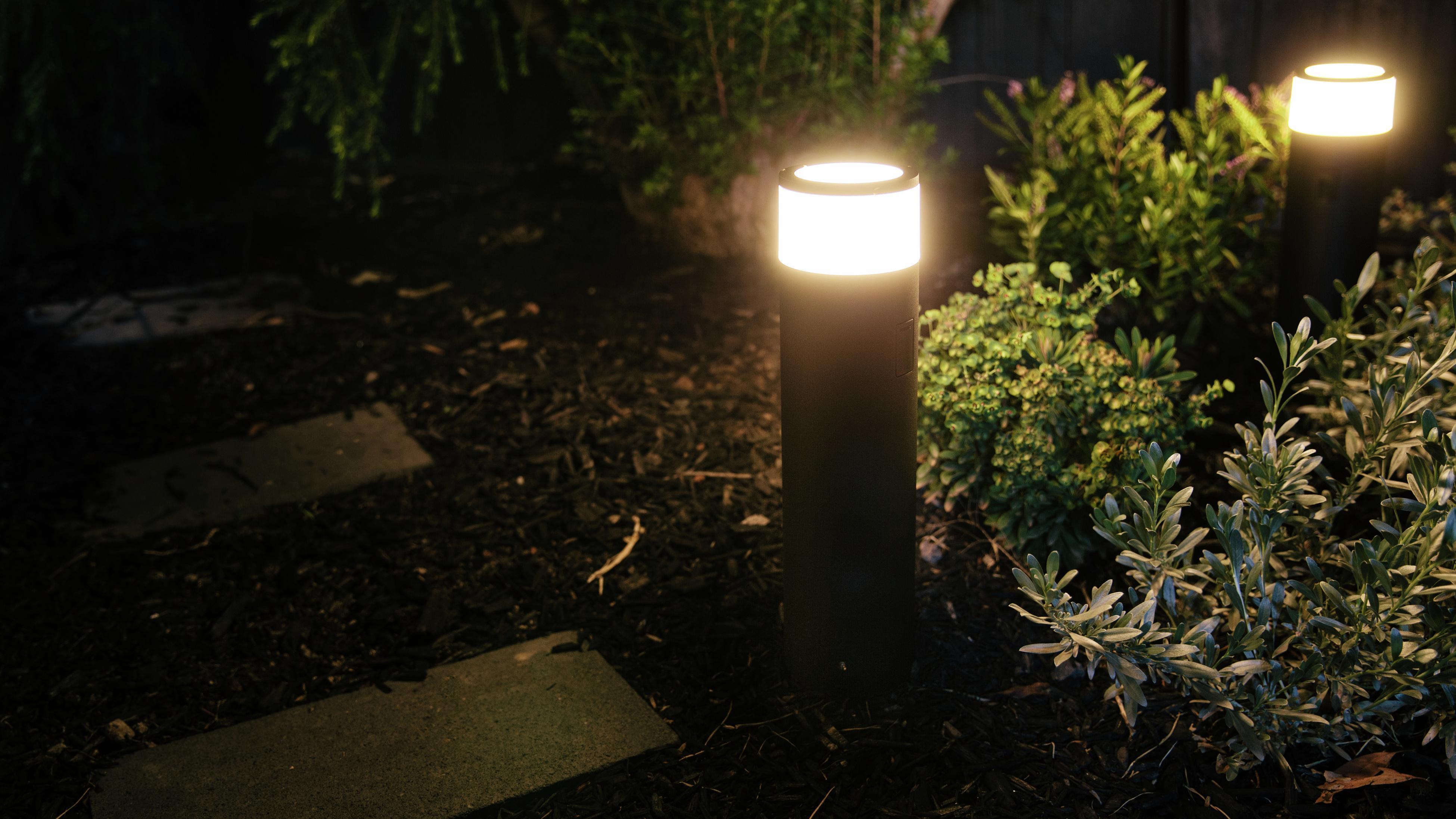 Path lights in the garden.