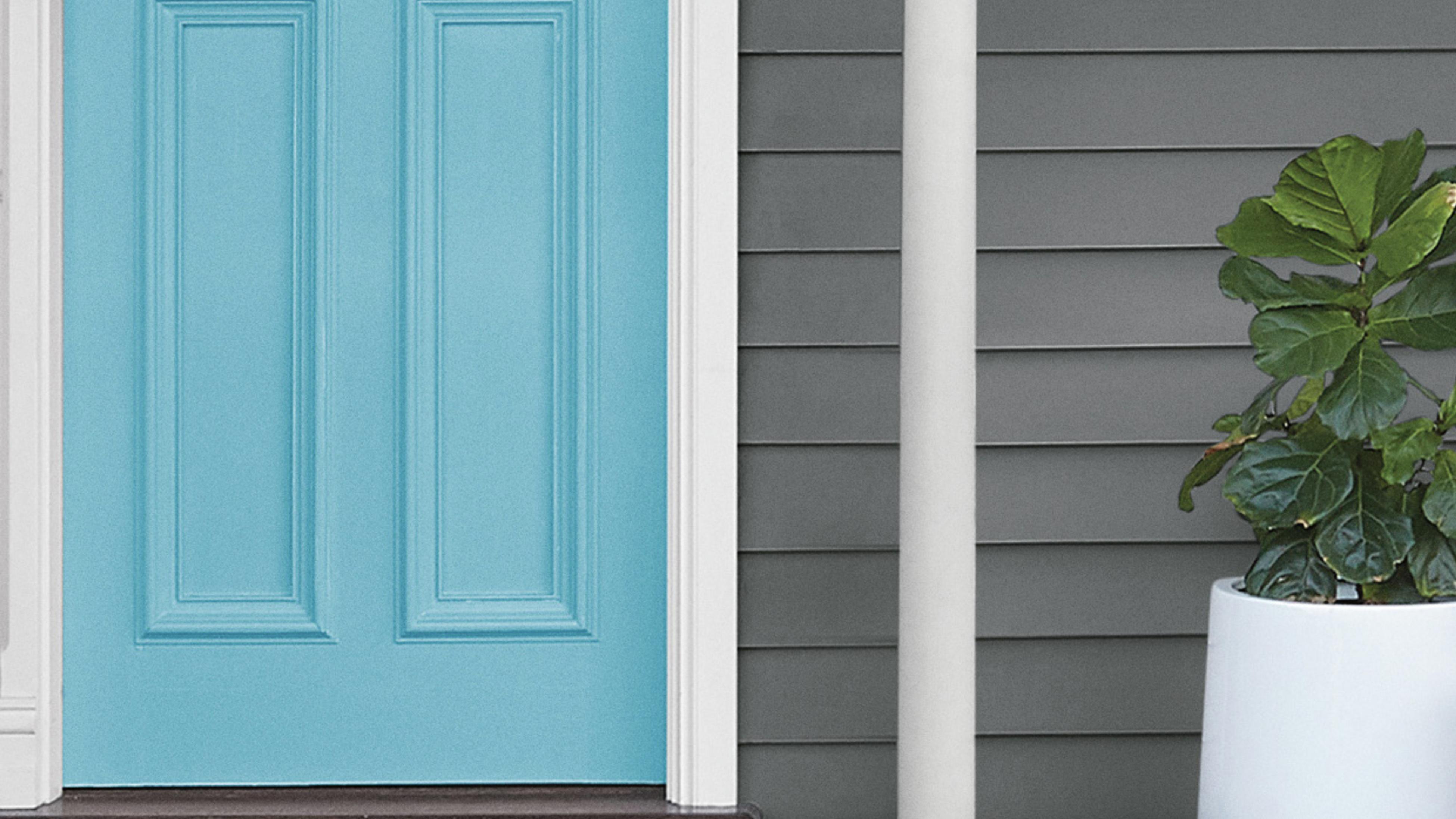 Blue front door.