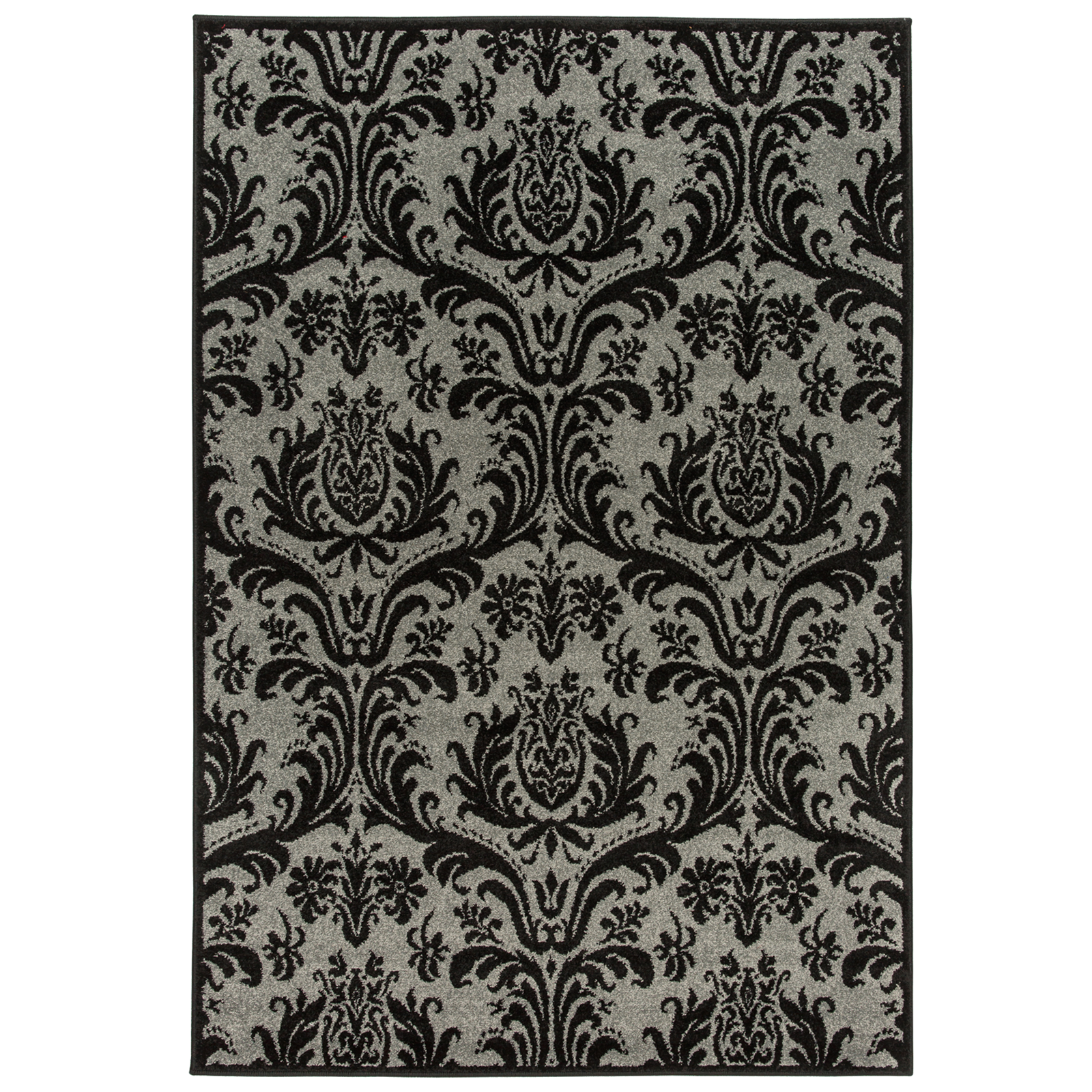 1600 x 2350mm Charcoal Chrome Floral Rug