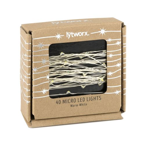 Lytworx 40 Warm White Micro LED Copper Wire Lights Battery Operated