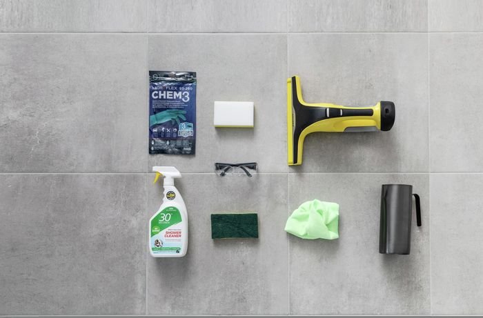 tools and materials needed to clean the glass