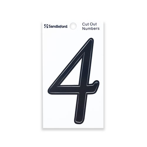 Sandleford 80mm Black Goudy Cut Out Self Adhesive Numeral 4