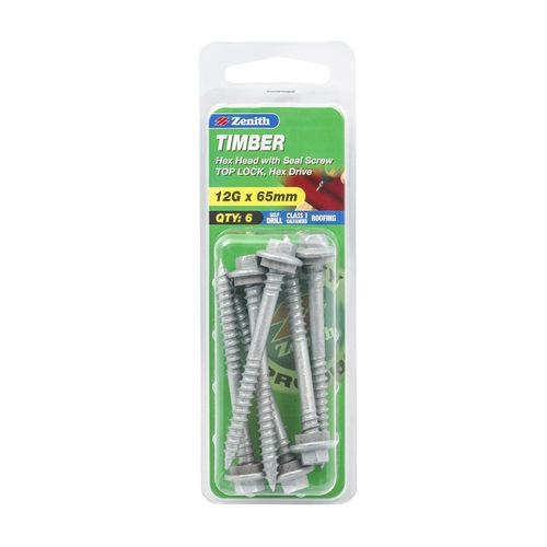 Zenith 12g x 65mm Galvanised Top Lock Hex Head With Seal Timber Screws - 8 Pack