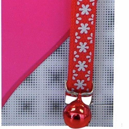Cat Collar Red Snow Nylon Reflective - 15cm-22.5cm x 10mm (Pet One)